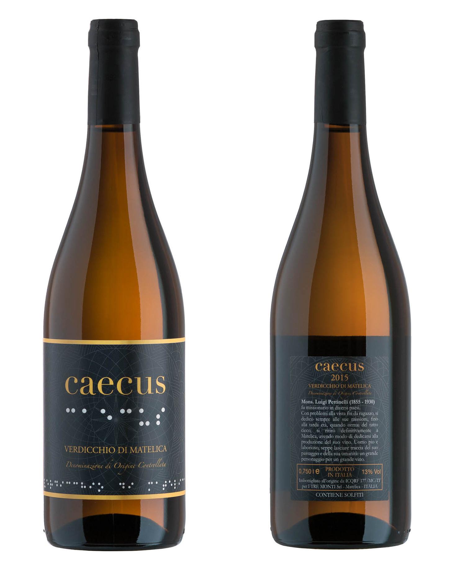 Fronte e retro bottiglia di Caecus